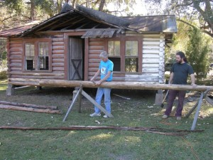 About the Sopchoppy Preservation and Improvement Association - Making Logs for a Log Cabin