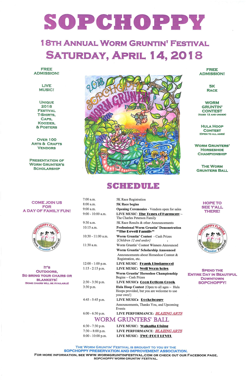 2018 Worm Gruntin' Festival SCHEDULE