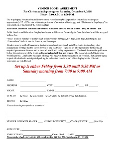 Christmas in Sopchoppy 2018 Booth Agreement Form - Click to Print (Opens New Window)
