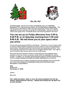 Christmas in Sopchoppy 2018 Vendor Invitation Letter - Click to Print (Opens New Window)