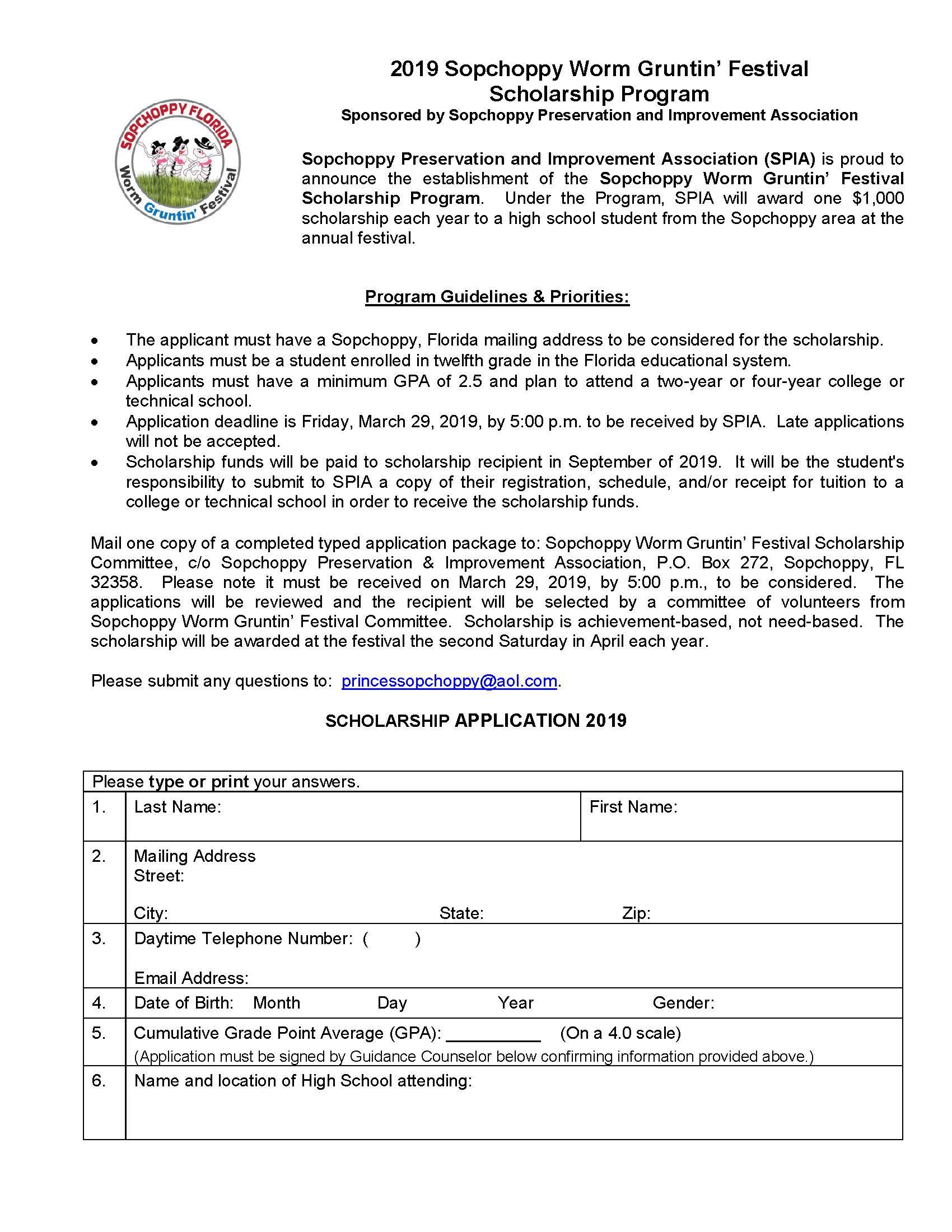 2019 Worm Gruntin' Festival Scholarship Application